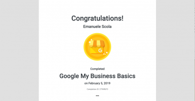 Certificazione Google My Business