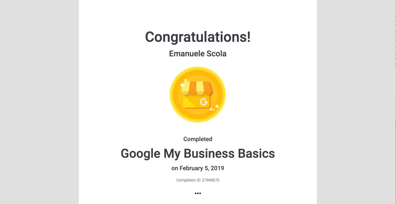 Certificazione Google My Business