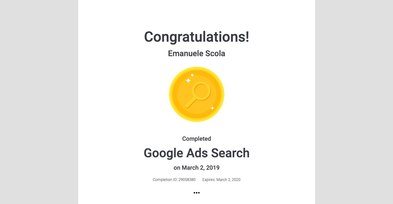 Certificazione Google Ads Search