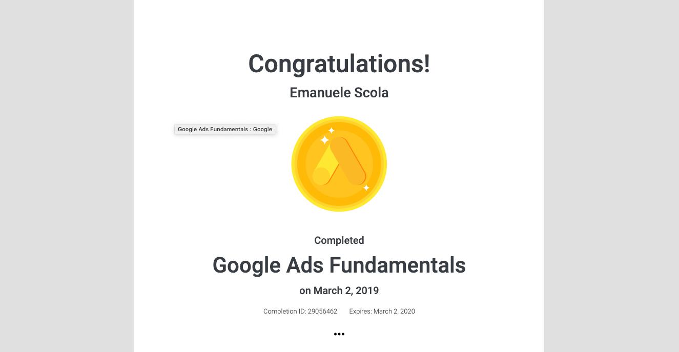 Certificazione Google Ads Fundamentals