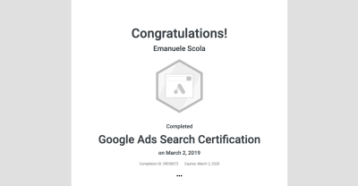 Certificazione Google Ads Search Certification
